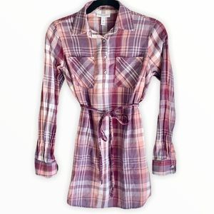 {Liz Lange} maternity pink plaid shirt- XS